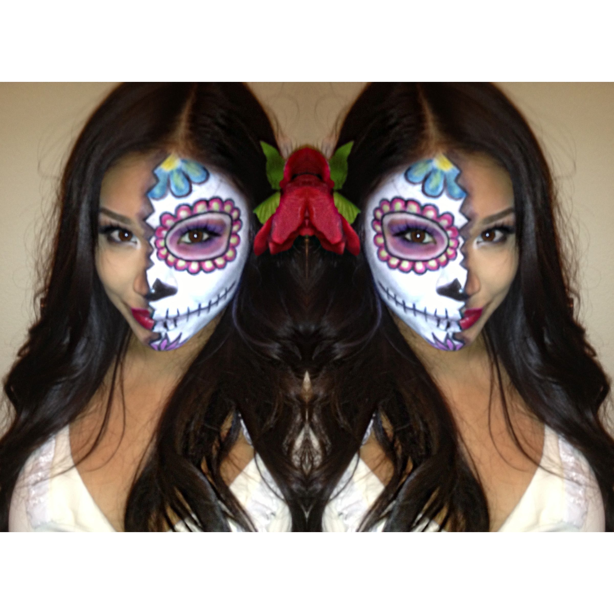 Dia De Los Muertos Day Of The Dead Mexican Sugar Skull Makeup Face Paint Half Anic