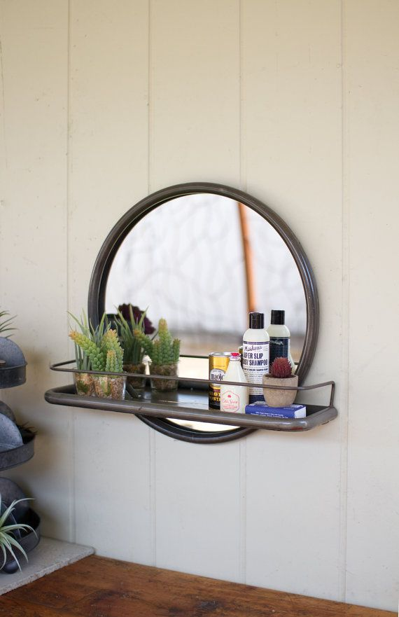Porthole Mirror with Shelf by LesSpectacles on Etsy