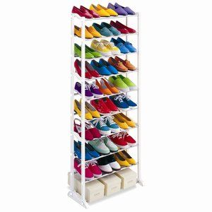 Lynk 30 Pair Shoe Rack 10 Tier Shoe Shelf Organizer White Walmart Com Shoe Rack Organization Shoe Rack Portable Shoe Rack Tower