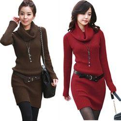 mobile site-Women's all-match long design turtleneck basic sweater slim hip slim basic shirt female one-piece women`s dress