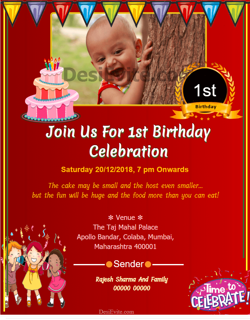 free 1st Birthday Invitation Card & Online Invitations in