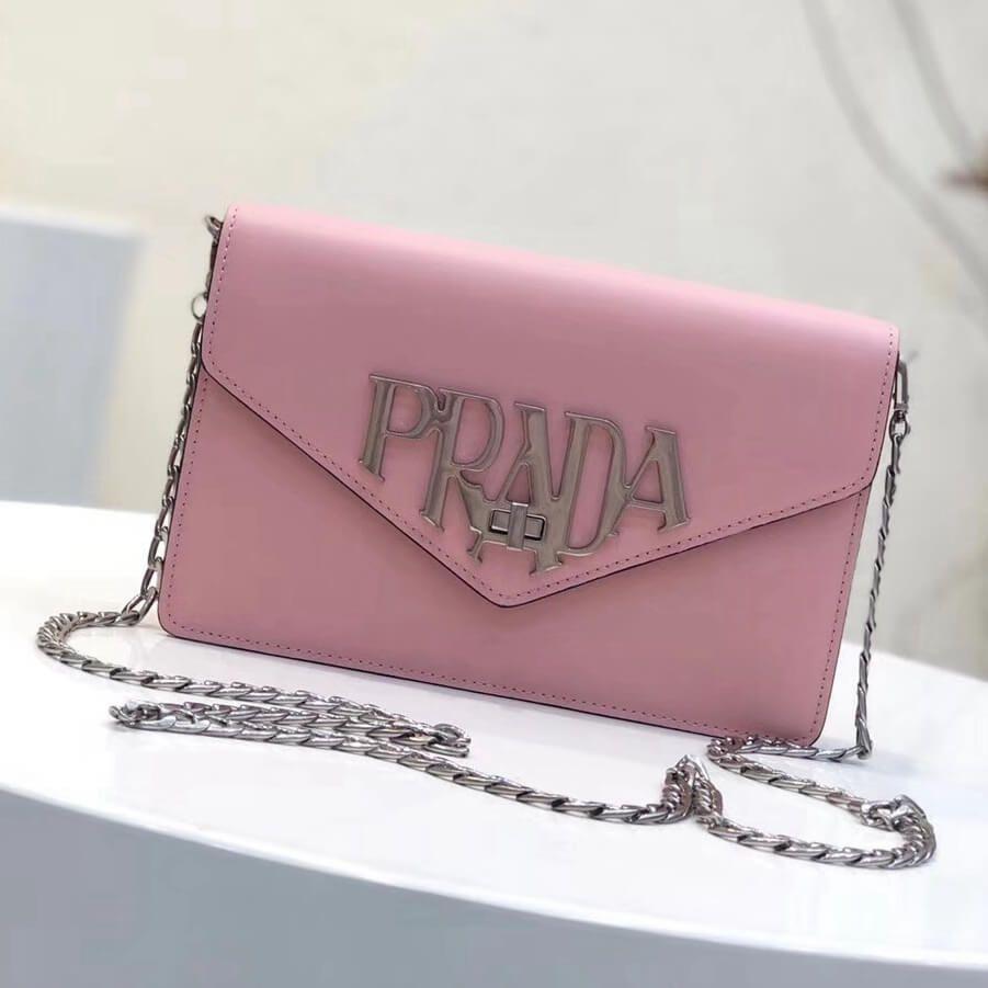 bb534589c5a2 Prada Brushed Leather Liberty Chain Shoulder Bag 1BD097 Pink 2018 ...