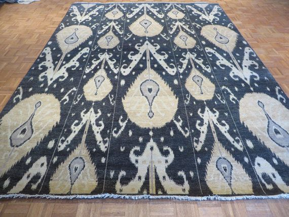 9 x 12 Hand Knotted Black Ikat Oriental Rug on Etsy, $2,249.00