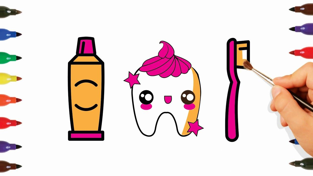 Tooth Toothbrush Toothpaste Coloring And Drawing For Kids Toddlers Drawing For Kids Coloring Book Pages Coloring Books