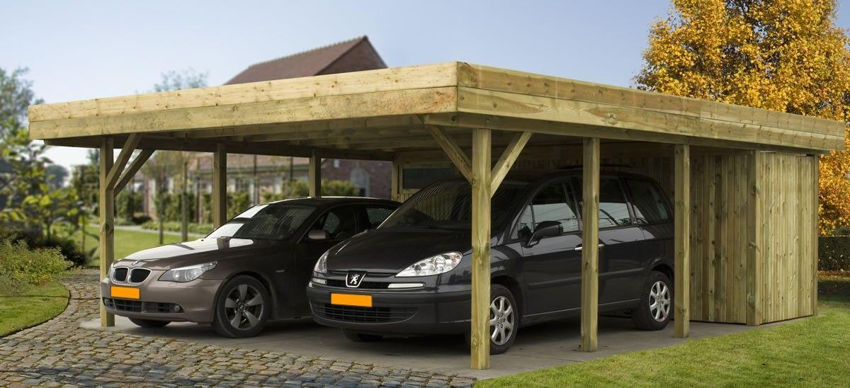 Dubbele vrijstaande carport met plat dak model Ecoline6