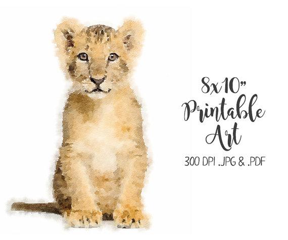 Lion Watercolour Peinture De Lion Art Animalier Peinture