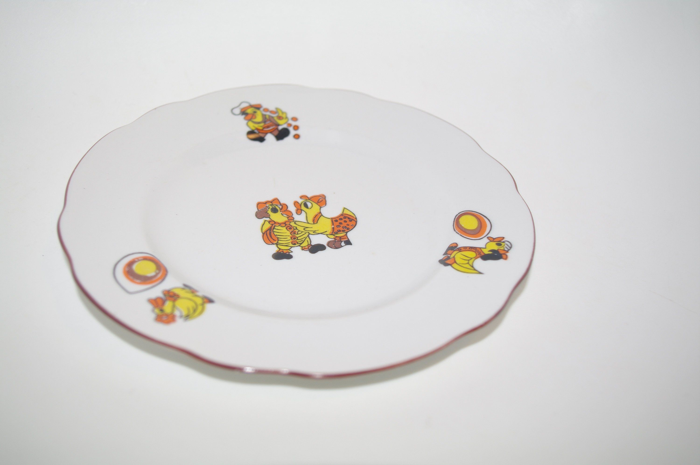 Vintage Kids Plate With Fairy Tale Animals Ducks Soviet Ceramic Childrens Dish Baby Plate Soviet Plate Childrens Plate Dinnerware Cmielow Etsy Cottage Chic I Kitsch