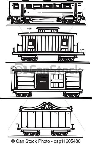 Vector Of Train Car Collection Woodcut Style Images Of Railroad