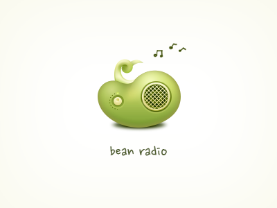 Bean Radio Typography Logo Radio Icon Design