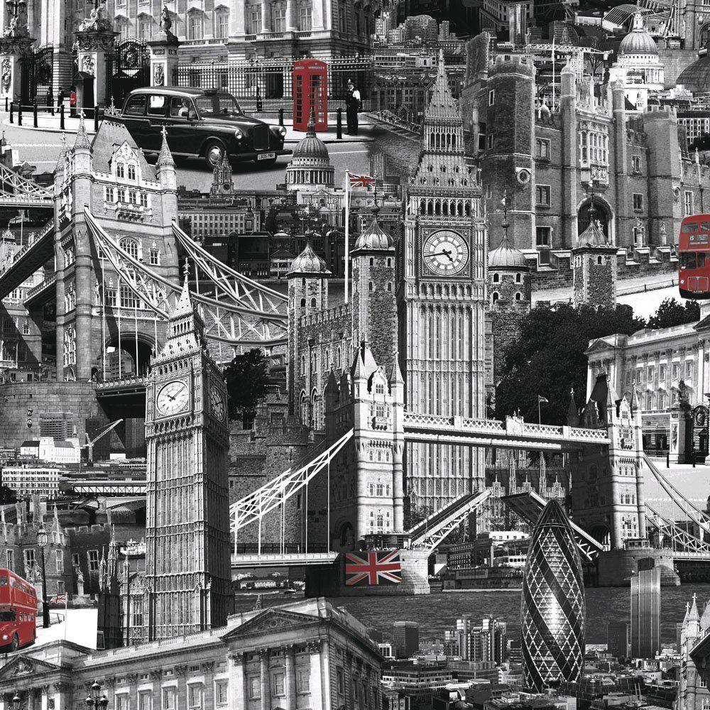 Muriva London City Wallpaper Black White Red London Wallpaper City Scene City Wallpaper