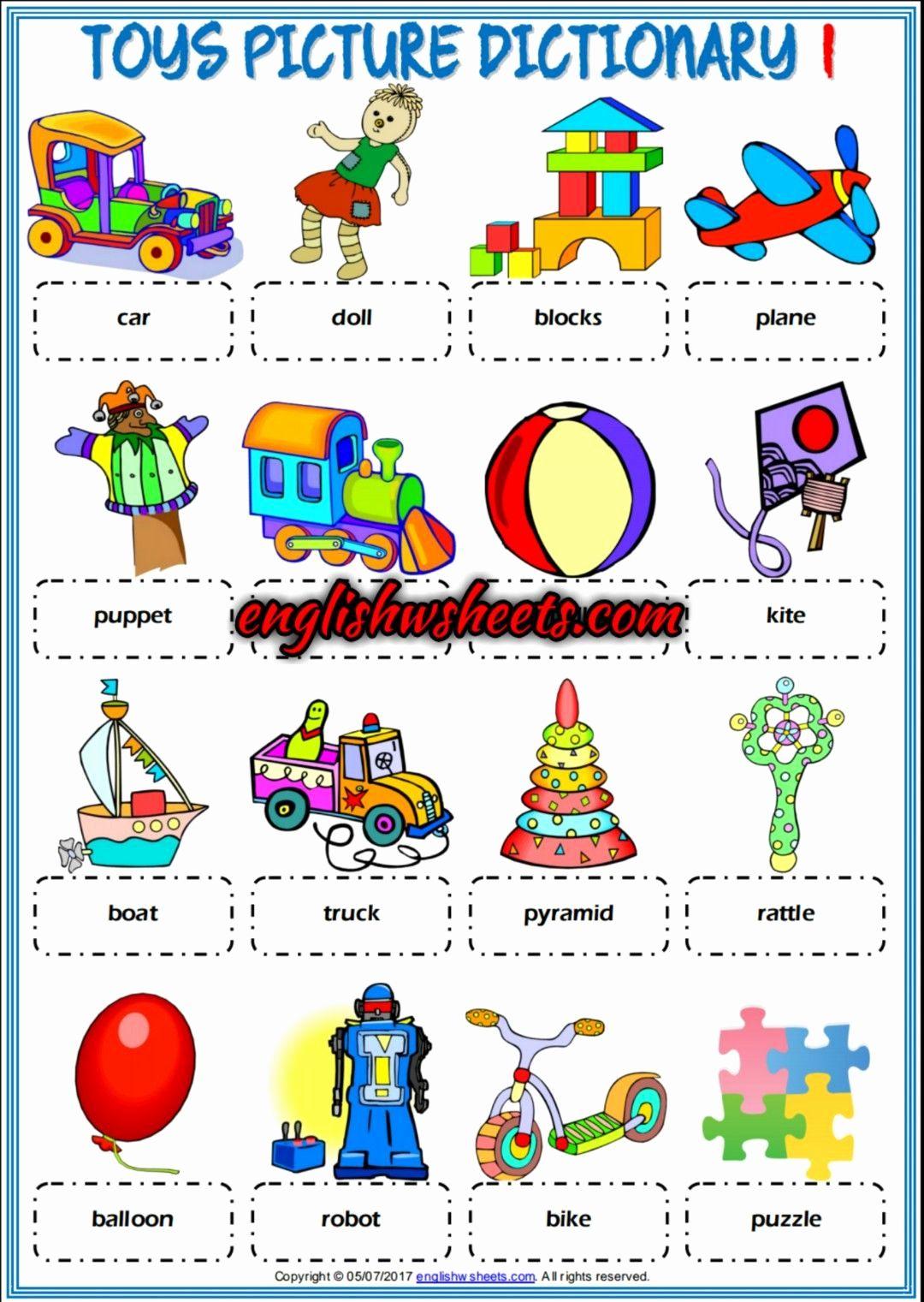 Esl Toys Coloring Worksheet Awesome Toys Esl Printable