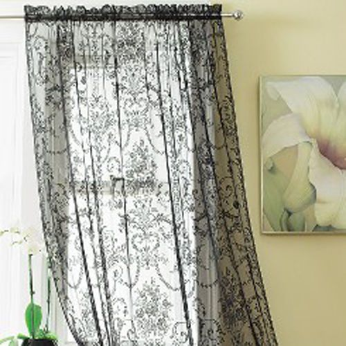 Bouquet Slot Top Vintage Lace Window Panels Net Curtains Black