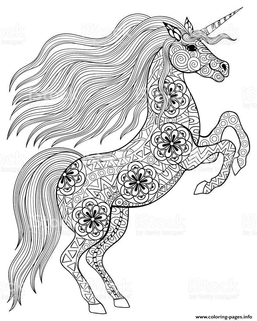 Print Adult Magic Unicorn Coloring Pages Unicorn Coloring Pages