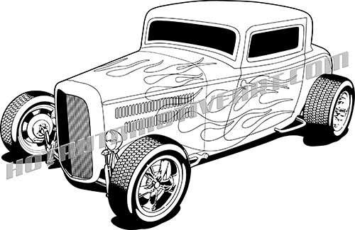1932 ford hot rod vector clipart, high quality blackline