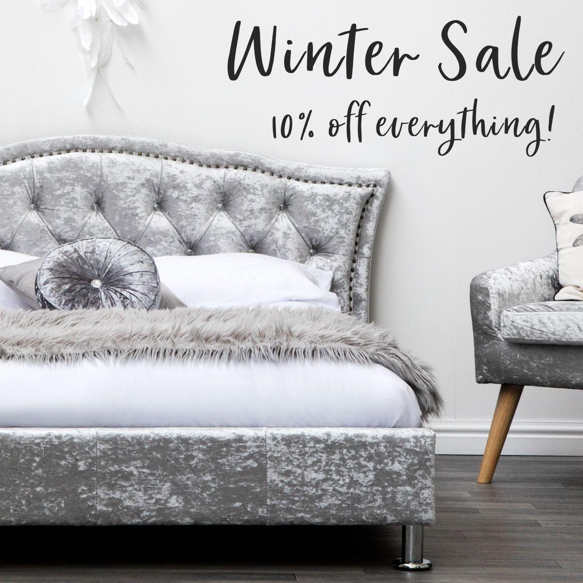 Silver Crushed Velvet Upholstered Designer Bed