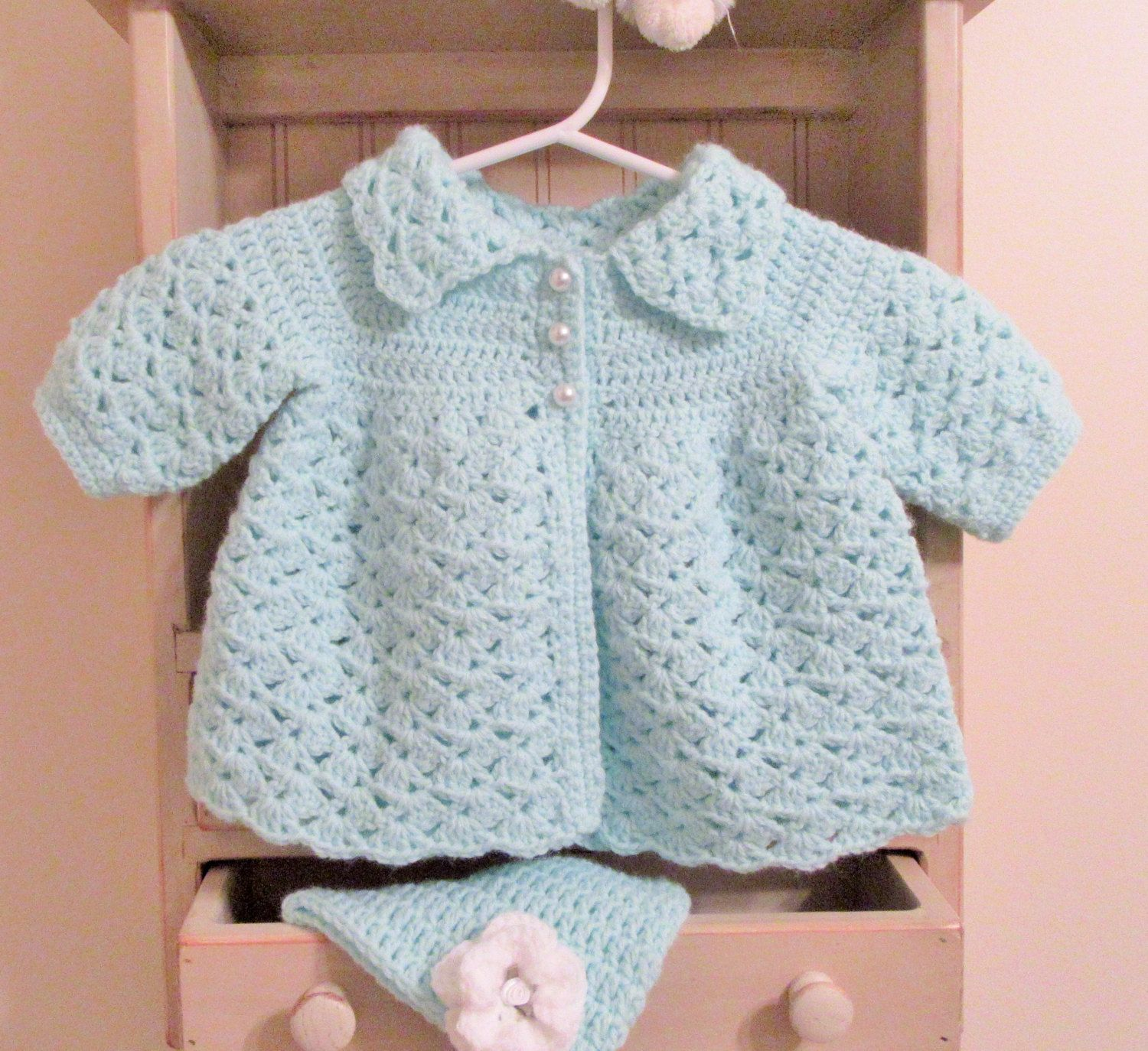 f0cf55f55 Handmade Crochet Baby Girl Sweater and Hat Gift Set 0-3 Months Mint ...