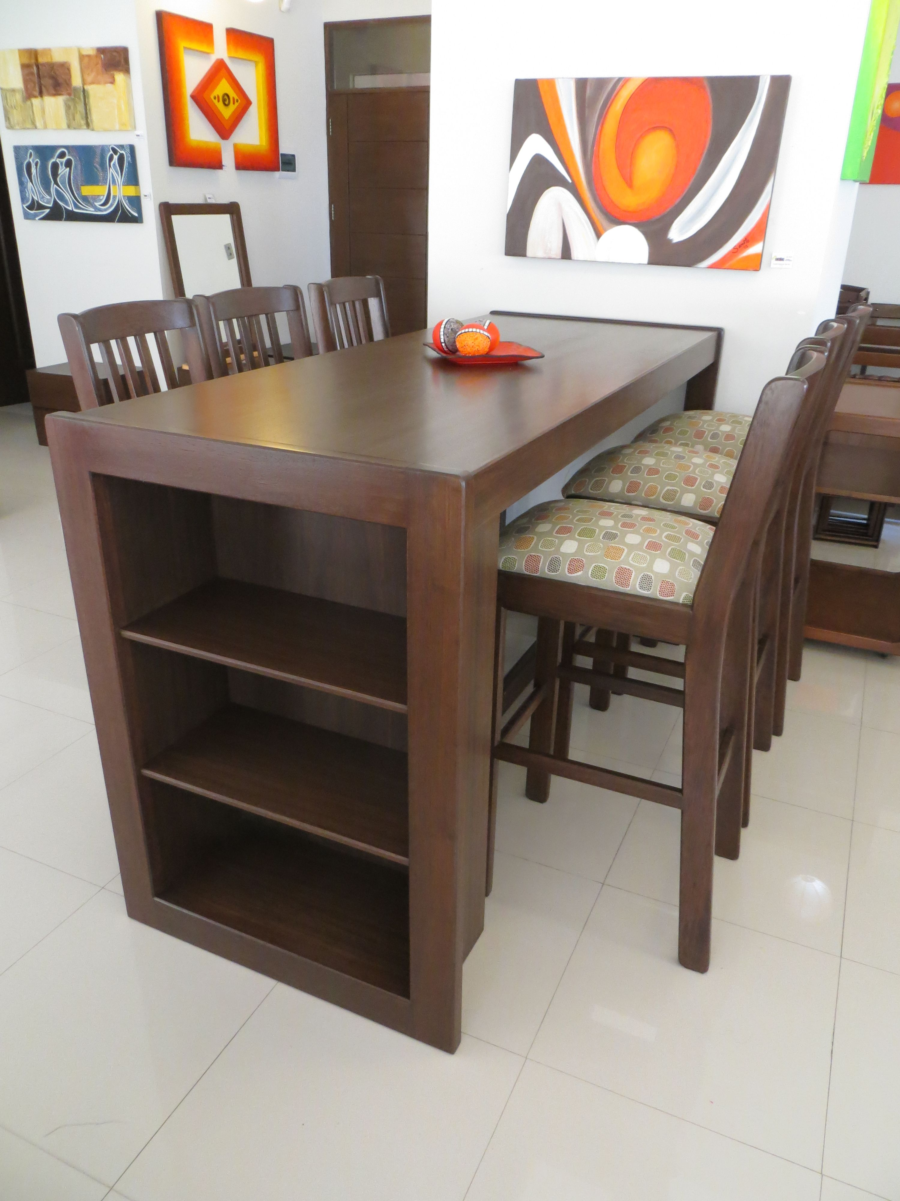 Comedor de diario con 6 sillas altas espacio con repisas en mara macho muebles - Sillas altas de cocina ...