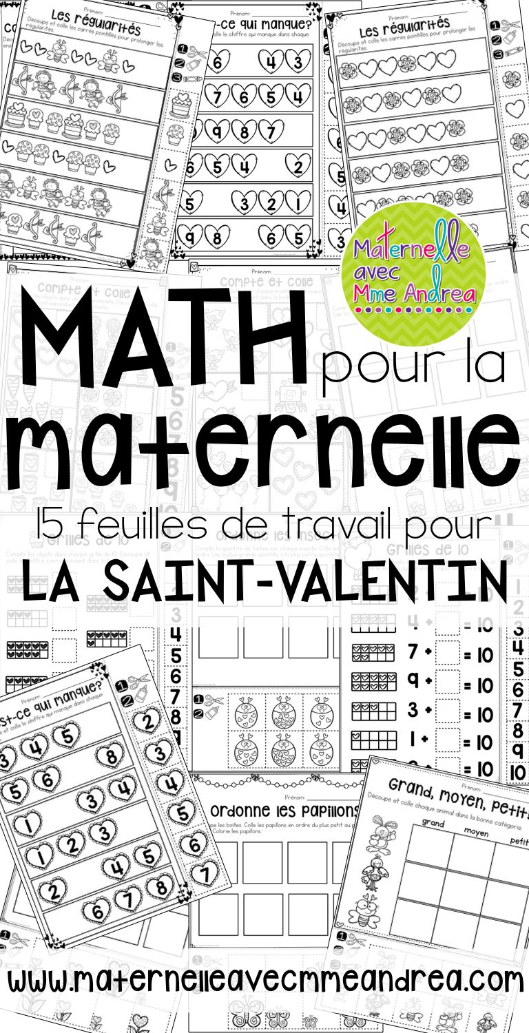 french valentine 39 s day no prep math worksheets cut paste la st valentin math matique. Black Bedroom Furniture Sets. Home Design Ideas
