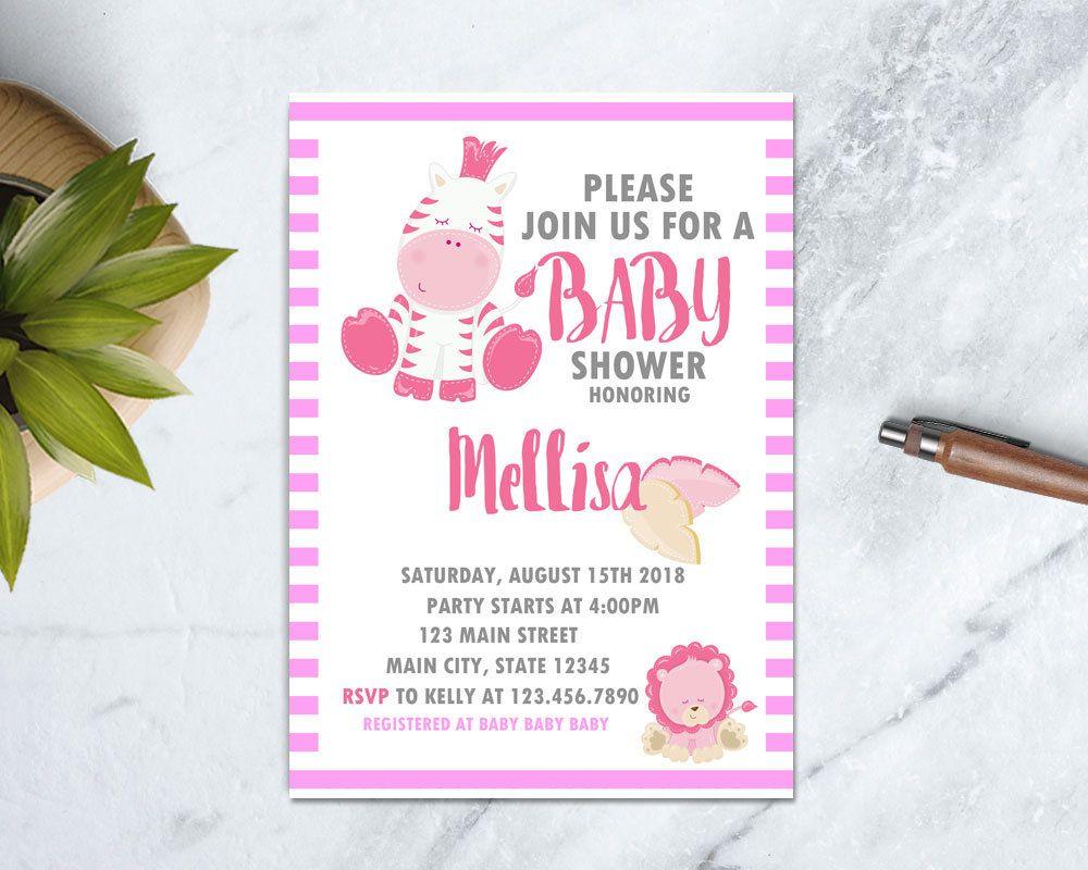 Zebra Baby Shower Invitation, Pink Safari Baby Shower Invite, Jungle ...
