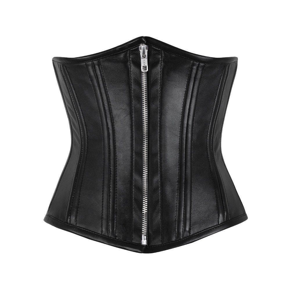 Heavy Duty Steel Boned Waist Trainer Genuine Leather Under Bust Shaper Corset
