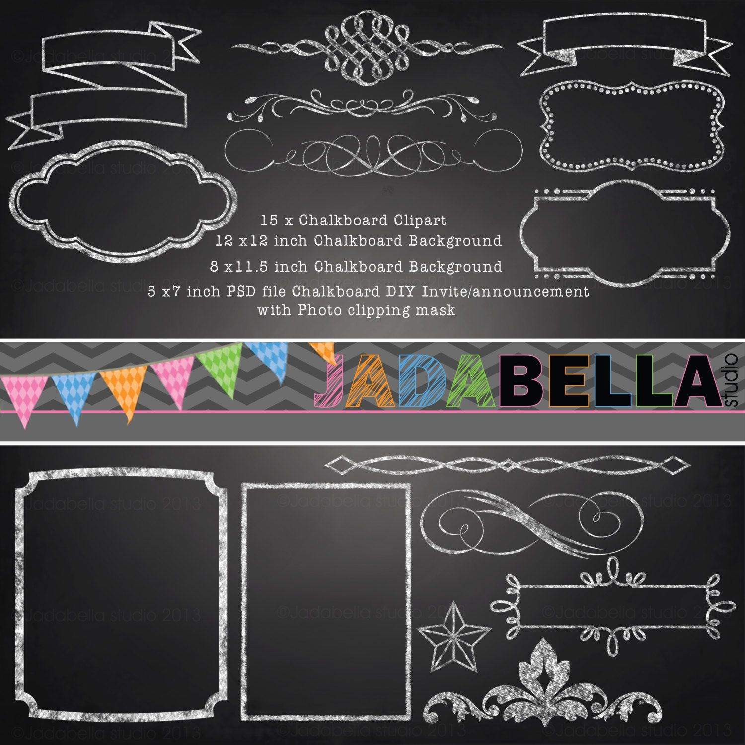 Instant Download Set of 15 Chalkboard Clipart 1 Photoshop Template ...