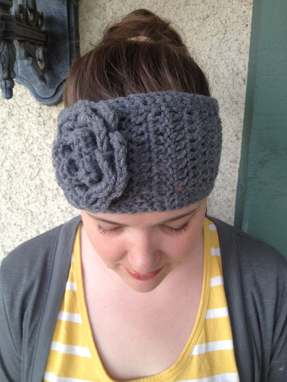 Crochet PATTERN Annabelle Chunky thick flower headband/ head warmer ...