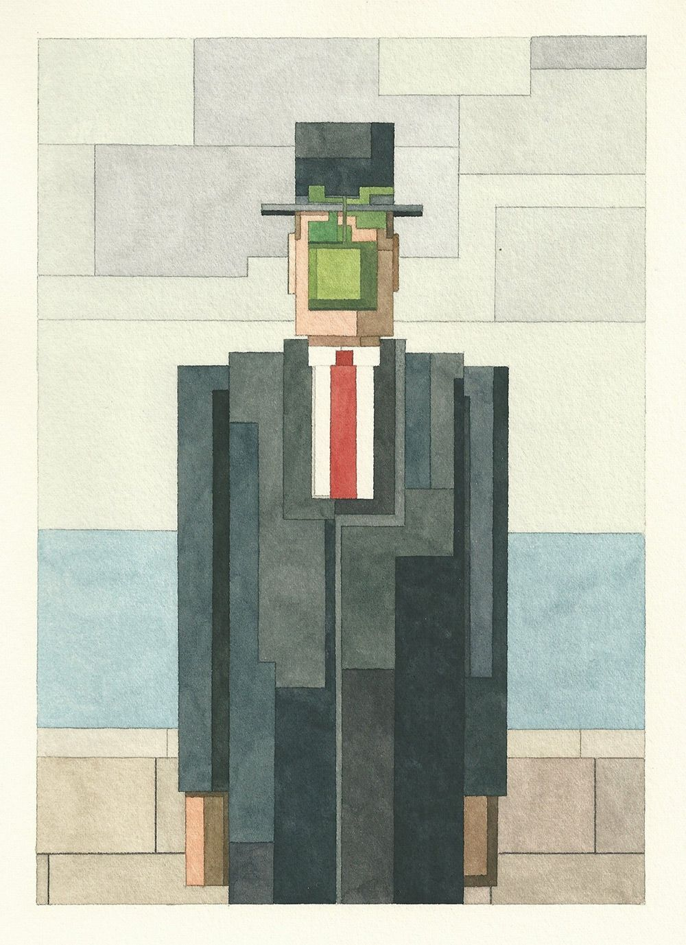 Watercolor art history - Adam Lister Watercolor Painting Inspired By 8 Bit Video Game Graphics