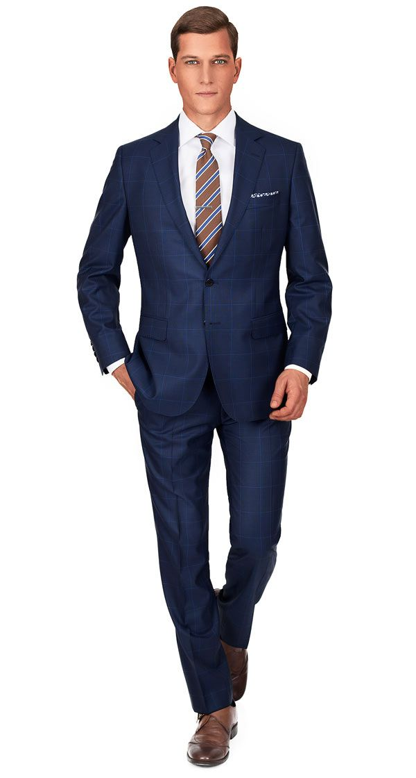 PREMIUM NAVY & BLUE PLAID 150S SUIT | Super 150s Wool by Vitale ...