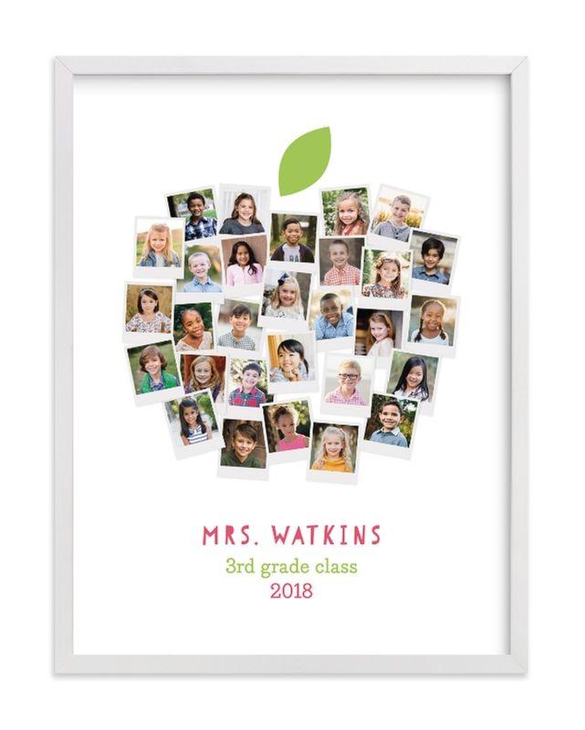 Apple For The Teacher Custom Photo Art Print #custodianappreciationgifts