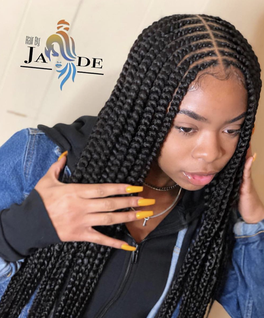 Love These Feed In Braids With 2 Rows By Hairbyjvdee Swipe Left To See Her Inspiration For This Styl Girls Hairstyles Braids Hair Styles Braided Hairstyles