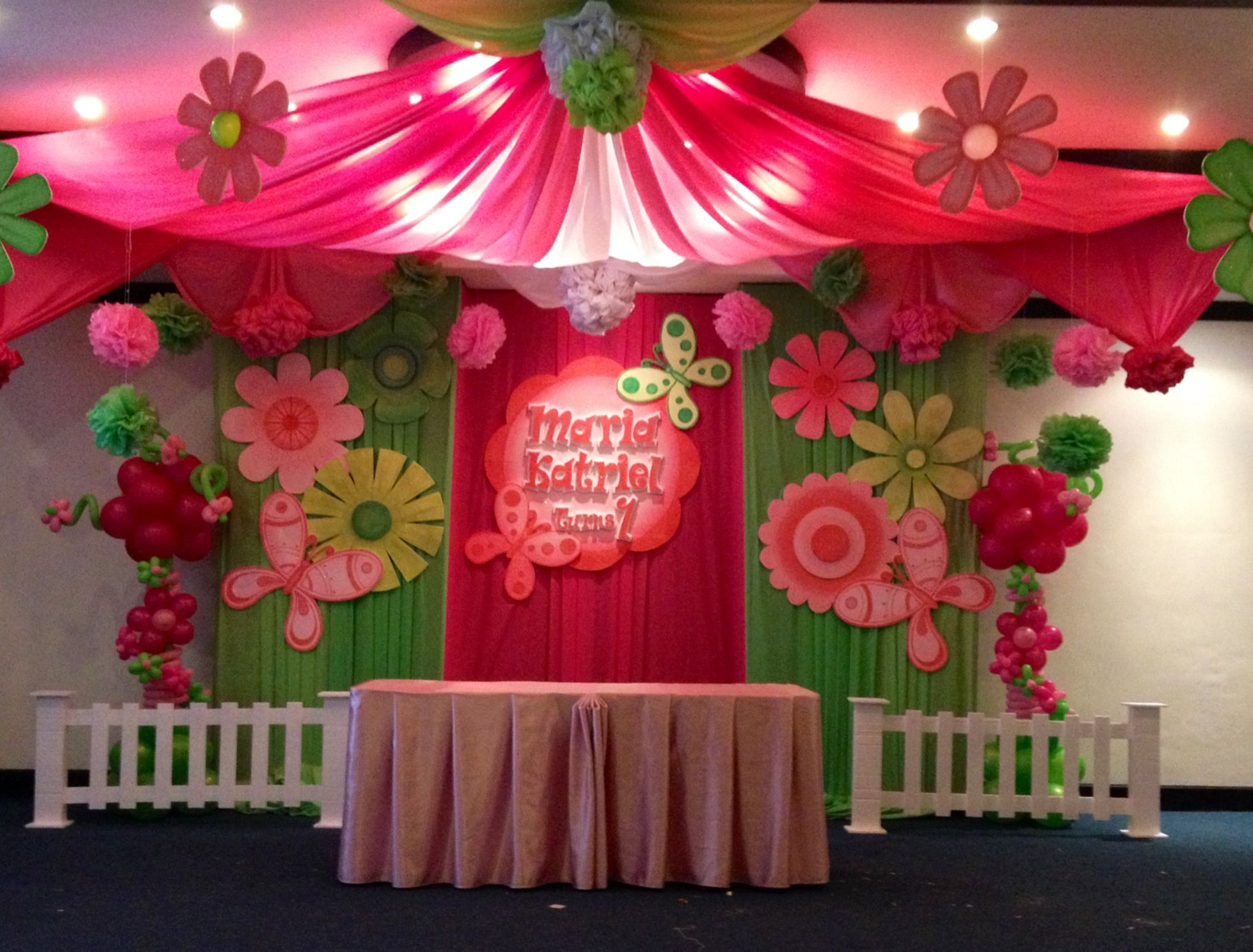 Flowers and butterfly theme party balloons network party for Bday decoration