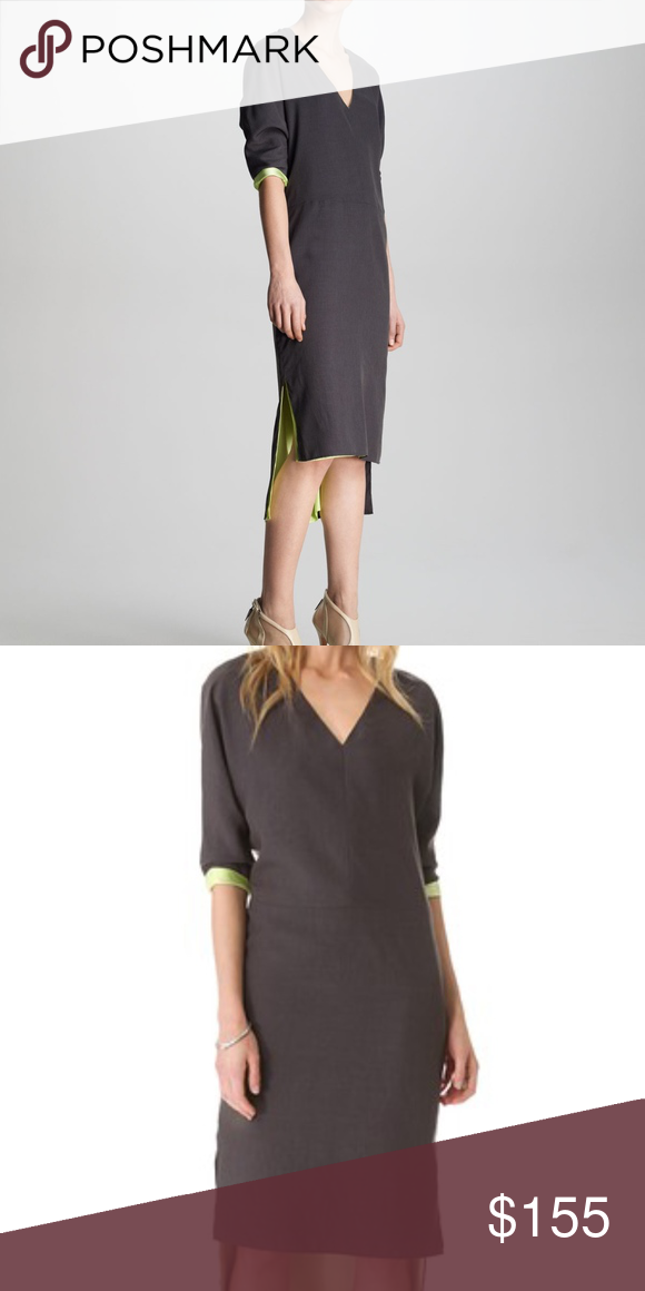 """NWT J BRAND – Charlize Reversible Dress – Sz. S Brand new with tags. A reversible gray and green J Brand dress with an easy silhouette can be styled showing the glamorous silk-charmeuse side, or the sophisticated neutral side. The uneven hem is slit for easy movement. 3/4 sleeves. Style with a nude heeled sandal for a chic look!   Fabric:  Smooth plain weave / silk charmeuse. Shell 1: 100% polyester. Shell 2: 100% silk.   Measurements:  Bust – 19"""" Waist – 17"""" Length in front – 42 ½"""" Length…"""