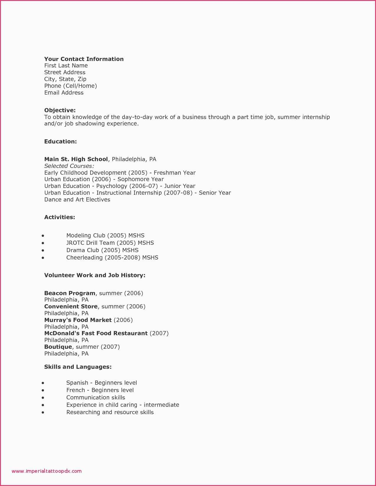 Resume Sample for Fresh Graduates Marketing Fresh Unique