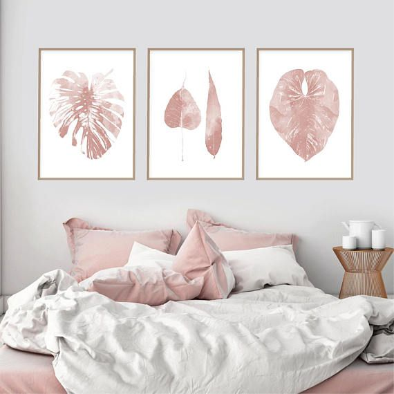 Downloadable pink leaf art prints set of 3 blush p