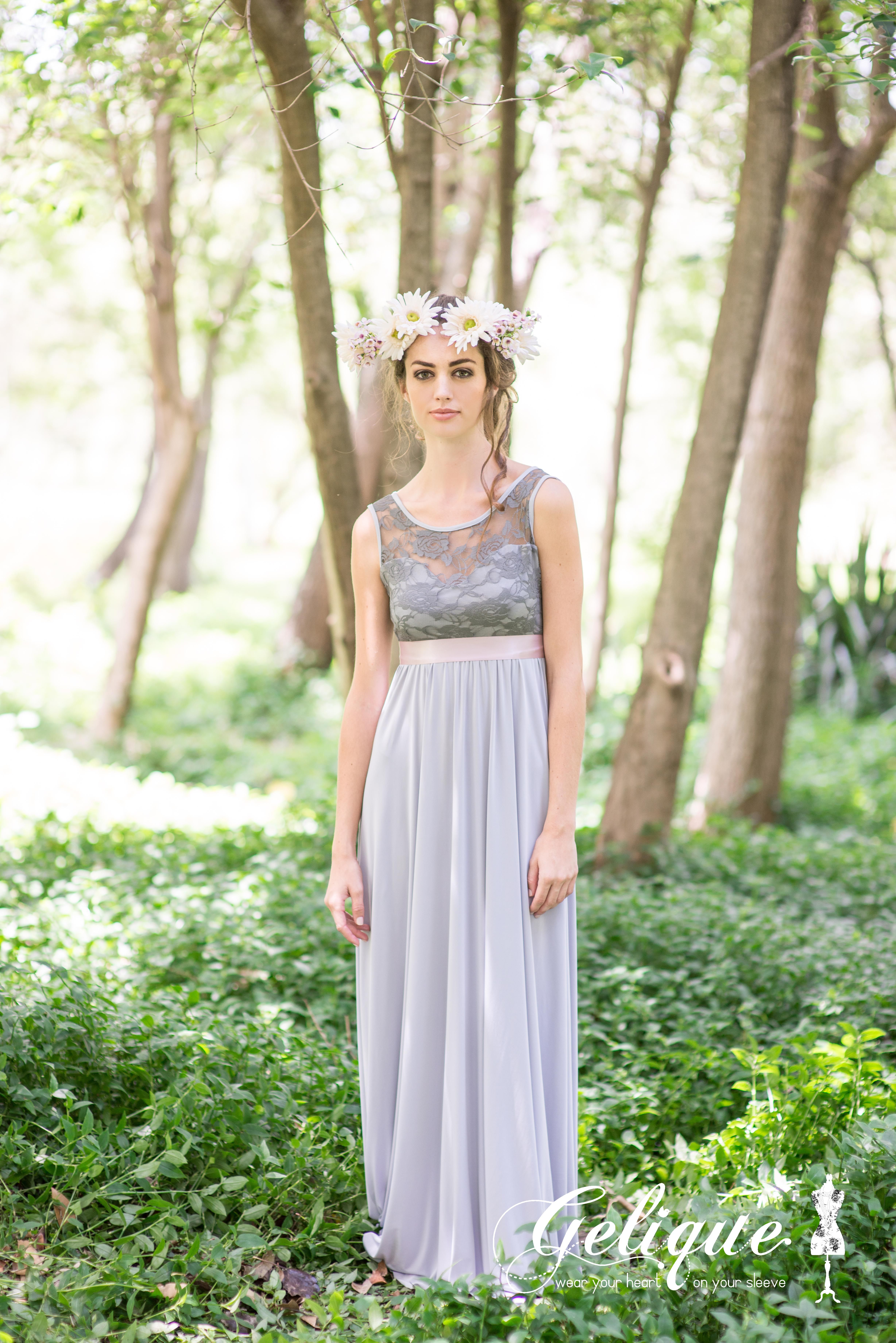 Leah gelique bridesmaids dress soft grey dress soft and sweet the gelique daisy dress offers an elegant dress that can be adapted to suit your desired purple bridesmaid ombrellifo Choice Image