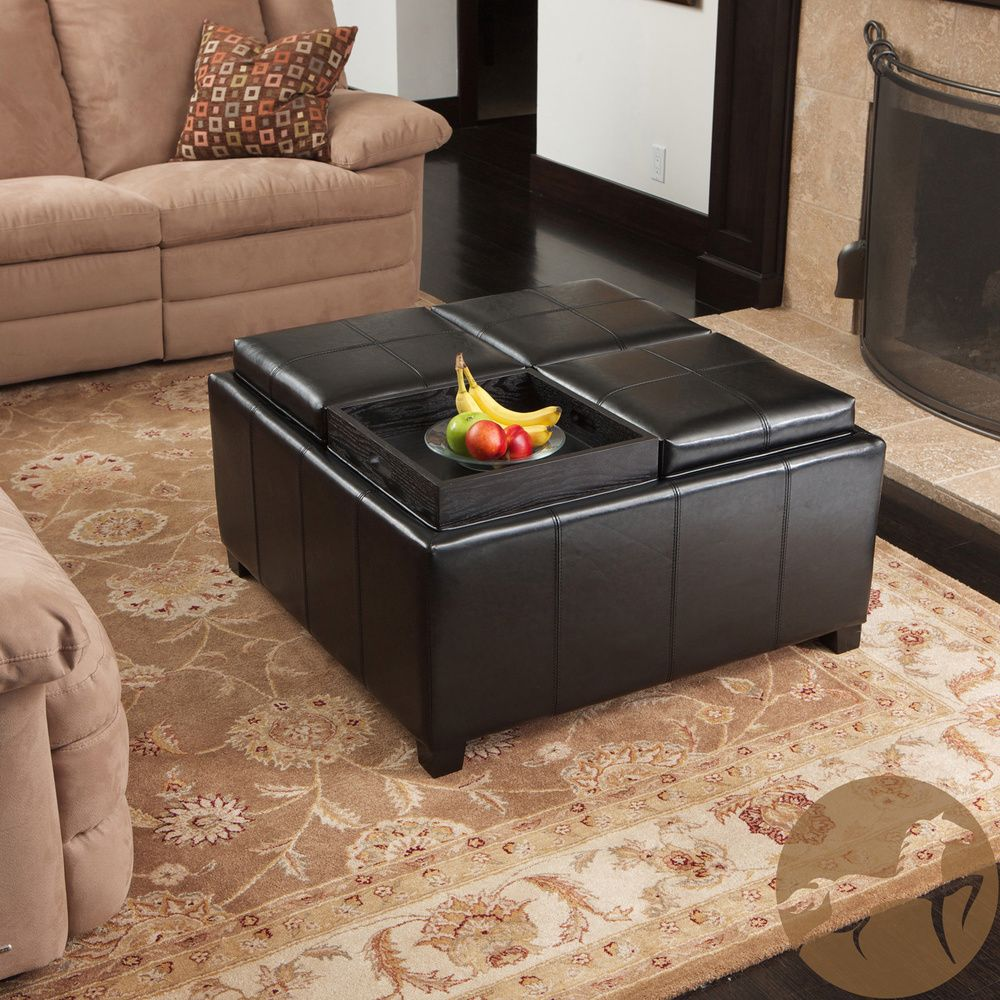 Christopher Knight Home Dartmouth Four Sectioned Black Bonded Leather Cube Storage Ottoman Ping The Best Deals On Otto