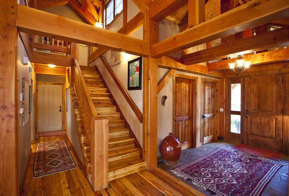 Mountain Home Interiors, House Interiors, Timber Frame Houses, Timber  Frames, Interior Ideas, Entry Stairs, Entrance Foyer, Log Cabins, Barn Homes Part 44