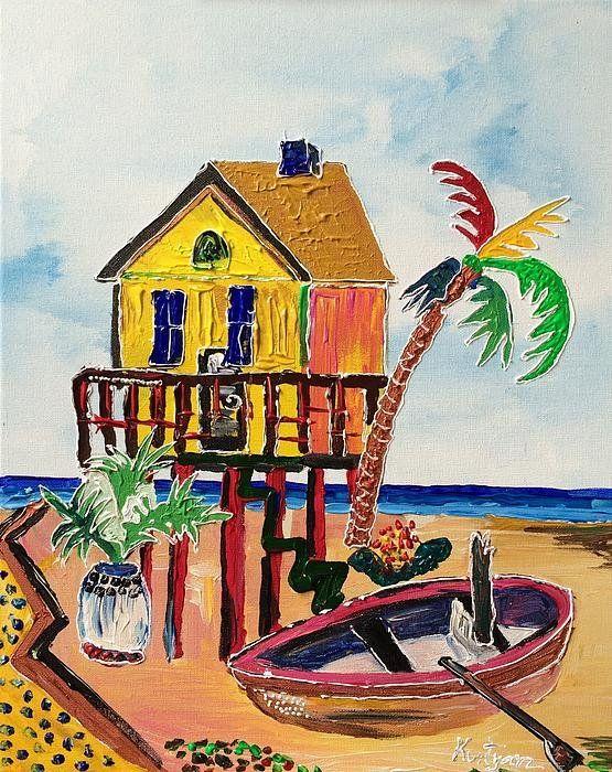 Galveston Beach House 1 Print By Alberto Kurtyan Galveston Beach