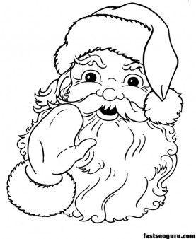 Printable Santa Claus Face Cola Coloring Pages Printable