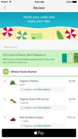 screenshot of Instacart iOS application (With images