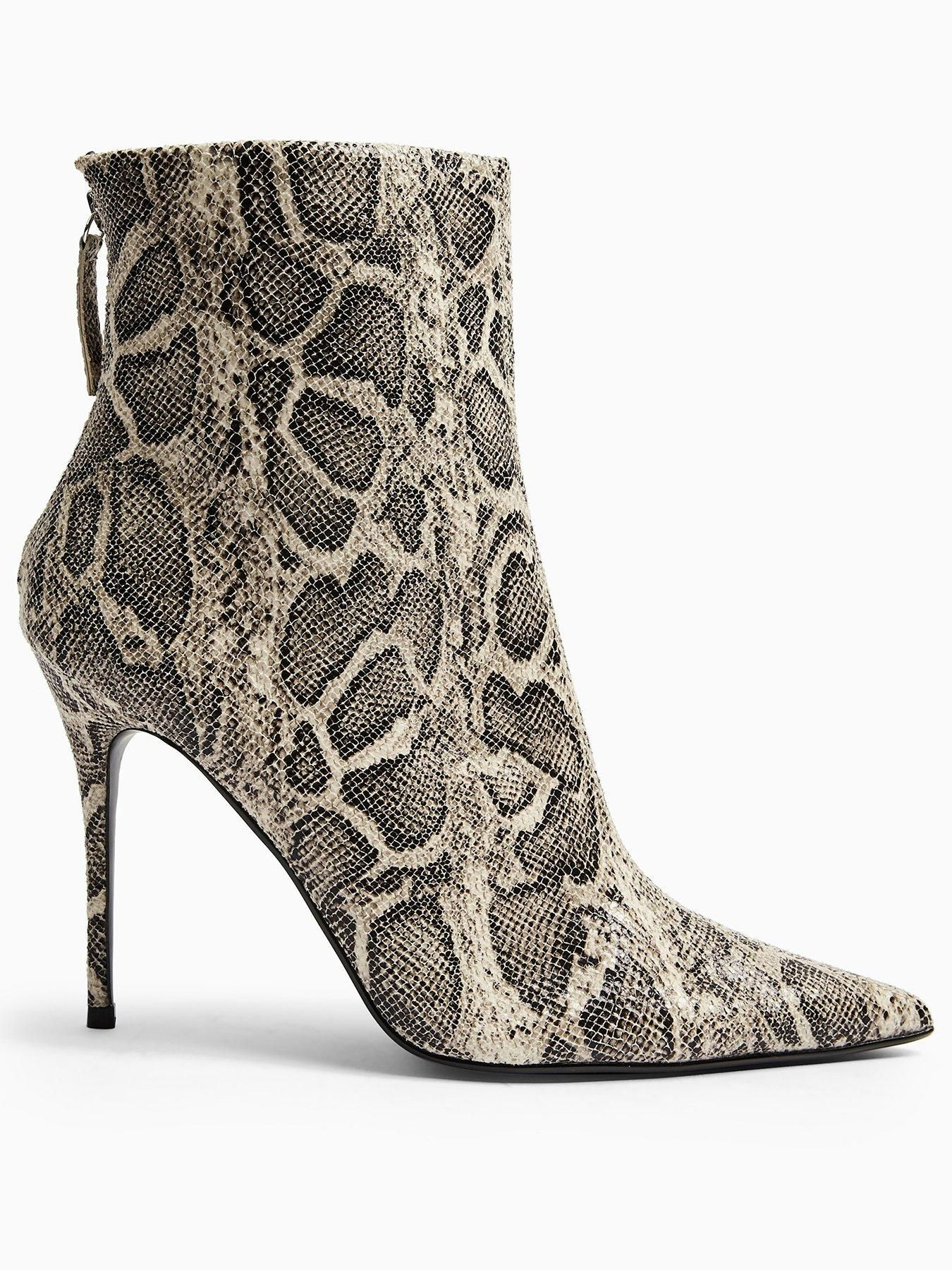 Topshop Eda Snake Print Point Boots – Grey