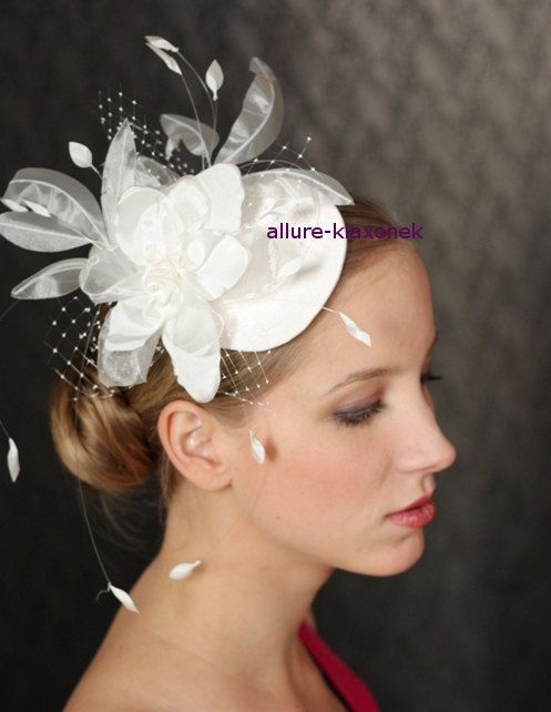Items Similar To Fabulous Birdcage Veil Wedding Hat Bridal Fascinator Headpiece With Amazing Flower