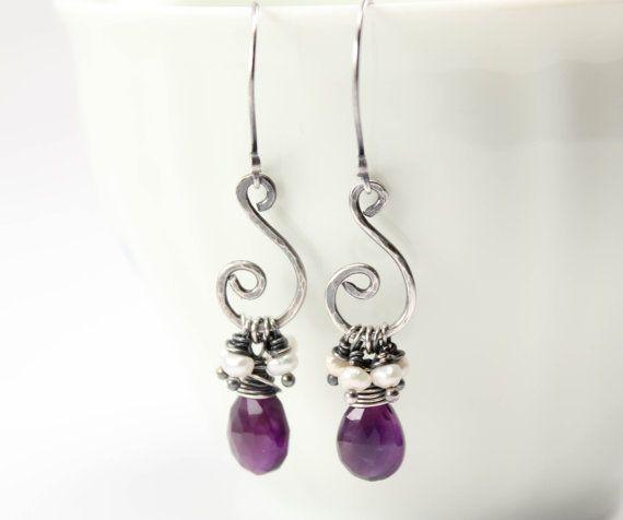 Amethyst Briolette Pearl Cluster Hammered Oxidized Silver Earrings February Birthstone