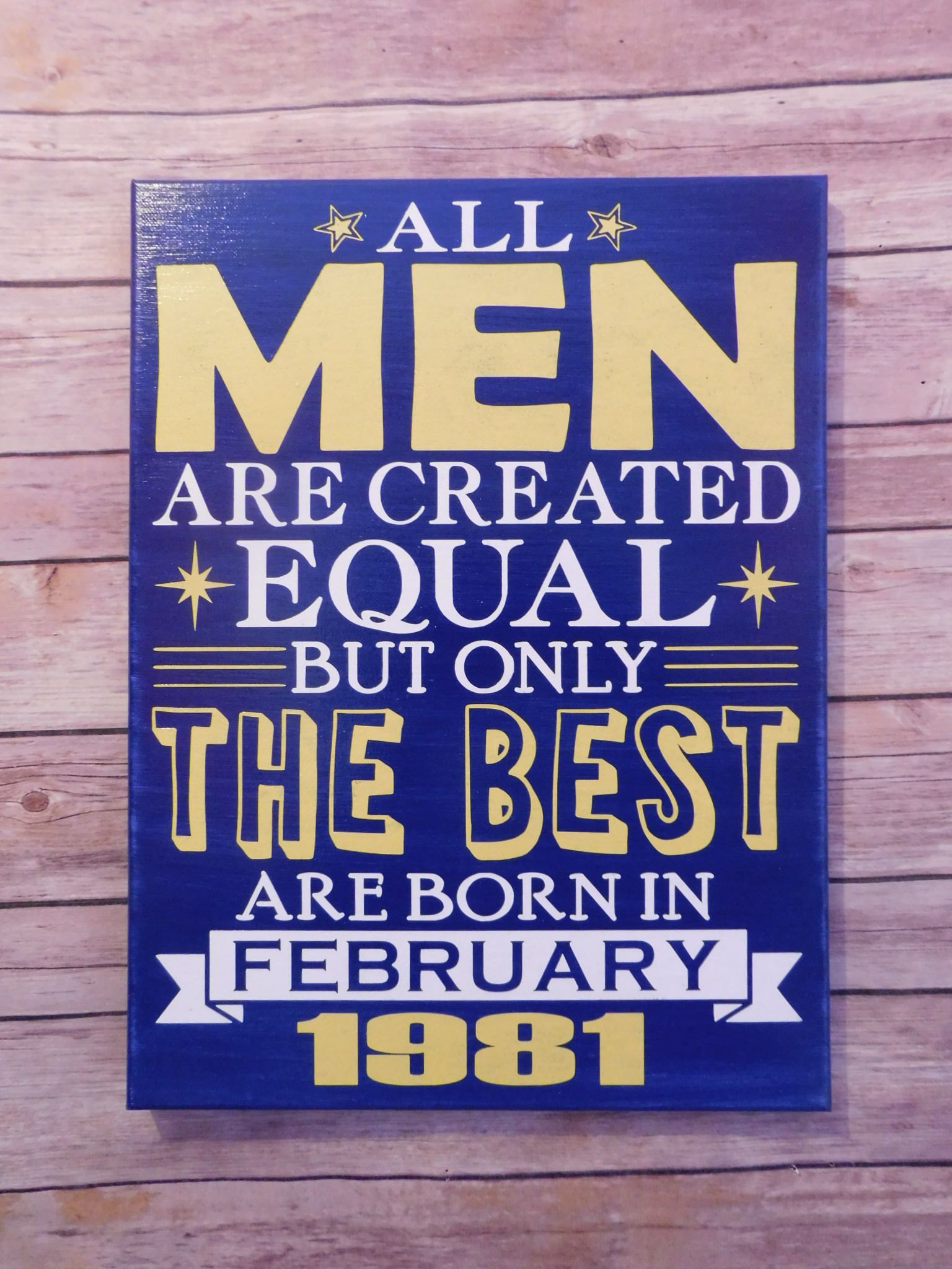 Funny Birthday Sign Gift For Husband Him Men Created Equal