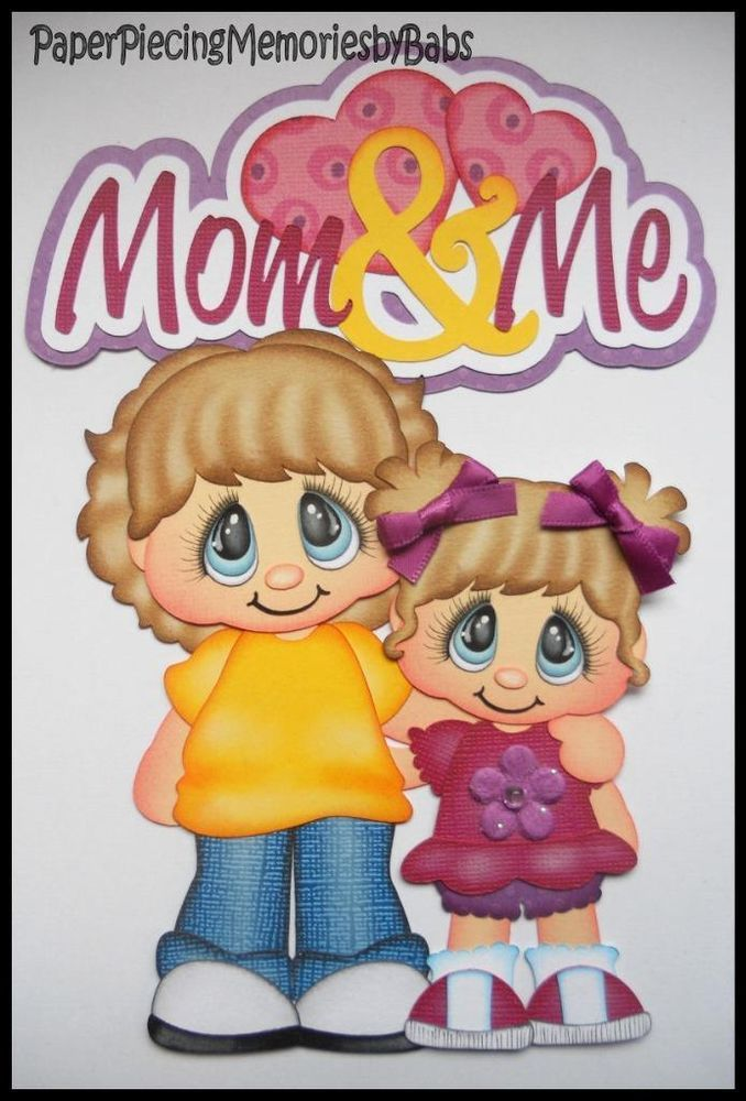 Premade Paper Pieced Mom and Me Set for Scrapbook Pages-by Babs