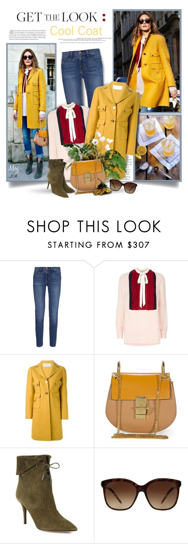 """Get the Look: Cool Coats"" by thewondersoffashion ❤ liked on Polyvore featuring Frame Denim, Valentino, Chloé, Aquazzura and Bulgari"