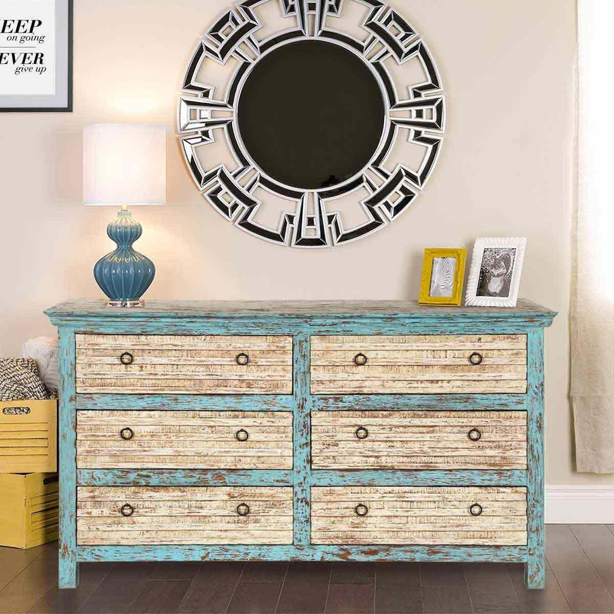 Antique White Blue Mango Wood 6 Drawer Double Dresser