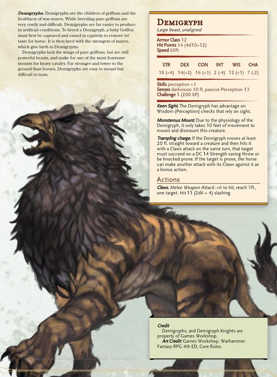 [Monster] Demigryph: shamelessly stolen from warha
