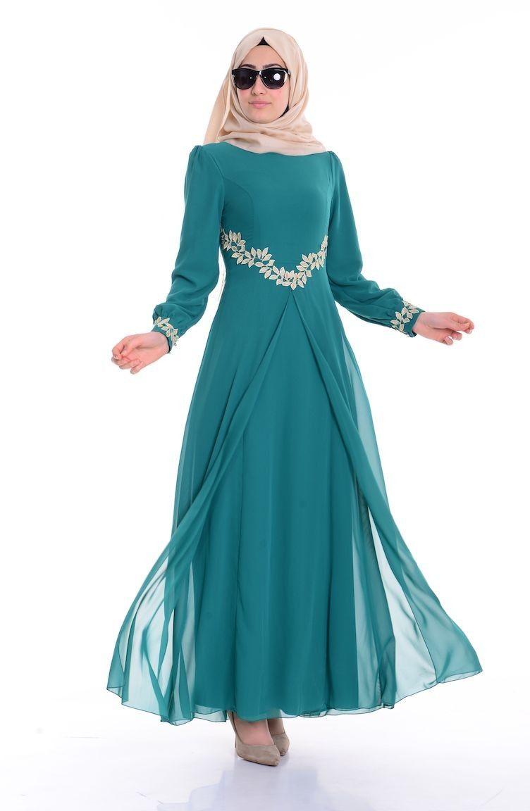 Sifon Elbise 52419 04 Cagla Yesil Batik Dress