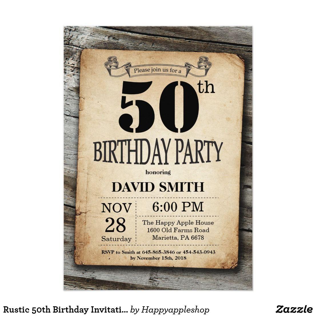 Rustic 50th Birthday Invitation Vintage Wood | Birthday Invitation ...